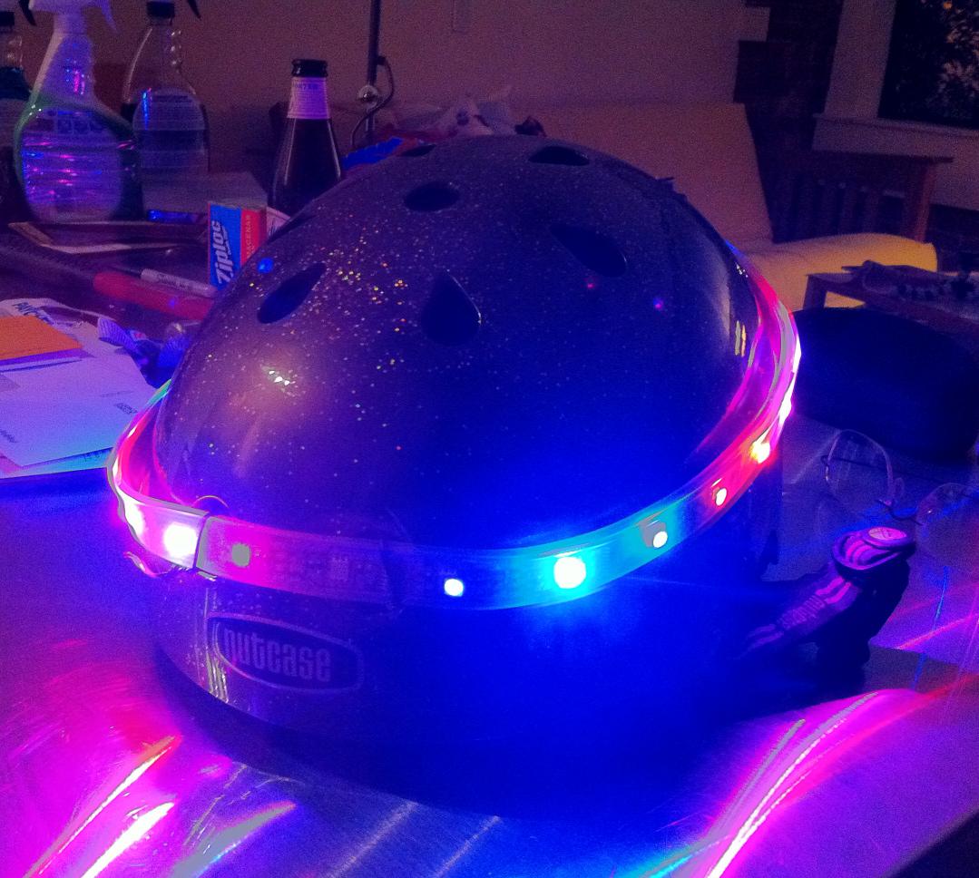 Rainbow bike helmet holy heck that's bright